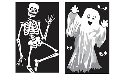 $ CDN5.62 • Buy Large Halloween Window Decorations / Posters Ghost Skeleton Vampire Party