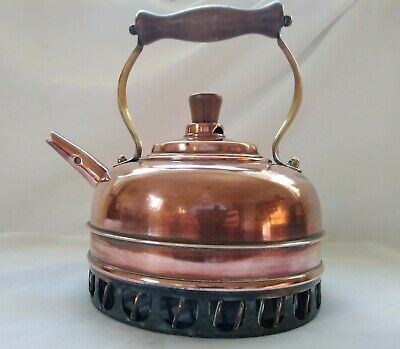 Vintage Copper Stove Top Kettle Quick Boil Aga Gas SCHL Brass Wood Handle 1.5L • 32£