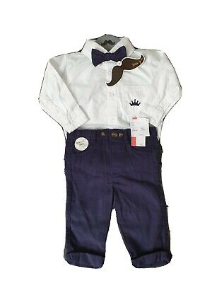 BNWT Little Gent Baby Boy 3 Piece Smart Outfit Shirt Trousers Bow Tie 0-3 Months • 3.90£
