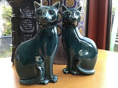 Pair Poole Pottery Cats Turquoise Blue Glaze Left And Right Facing Vgc • 59.99£
