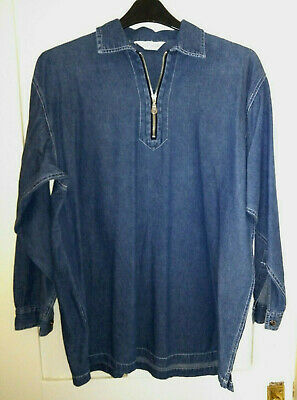 Vintage Top Shop Denim Shirt Tunic With Zip Womens UK Size 20 • 9.50£