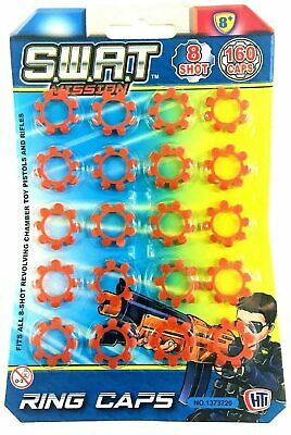 1 X Swat Ring Caps Gun Caps Fits All 8 Shot Toy Cap Gun Toy 8 Shot Ring 160 Caps • 3.45£