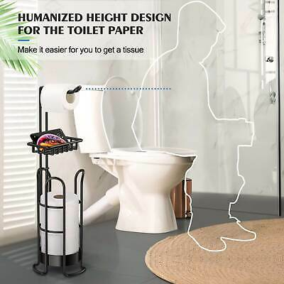 AU32.69 • Buy Free Standing Toilet Paper Roll Holder With Weight Bearing Bathroom Toil Silver