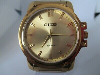 GENTS CITIZEN GOLD PLATED (23k) QUARTZ LARGE FACE (42mm) WATCH • 28.50£
