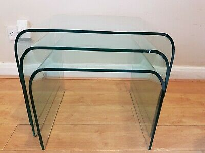 Glass Nest Of 3 Side Tables Coffee Set Curved End. • 18£