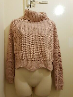 Light Pink Polo Neck Knitted Slouchy Crop Top Jumper Sweater Size 8-10  • 3.99£