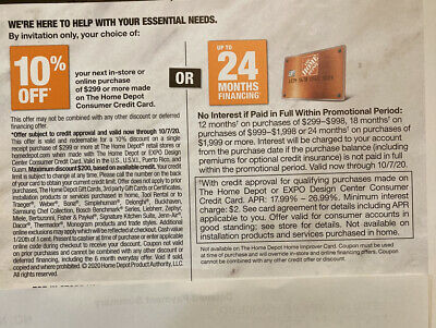 $35 • Buy Home Depot Coupons! 10% Off Or Up To 24 Months Financing EXP 10/7/20