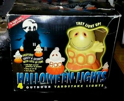 $ CDN45 • Buy Halloween Light-Up Ghost Sitting On A Pumpkin Yard Lawn Stakes Blow Mold Vintage