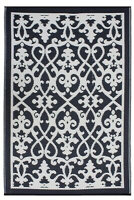 AU59.90 • Buy 150x240 CM Folded Recycled Plastic Outdoor Rug Waterproof Venice Black And Cream