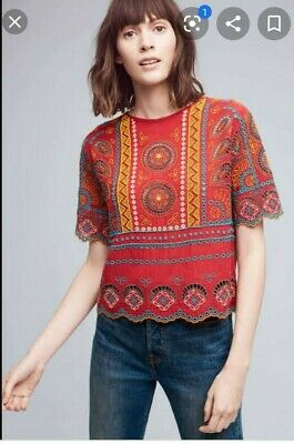 $ CDN14.12 • Buy BNWT Anthropologie Tiny Embroidered And Beaded Top In Size XS RRP:$