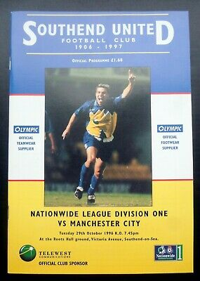 Southend United V Manchester City     29-10-1996  • 2.95£