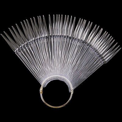 40pcs Beginner With Split Ring Pointed False Nail Tips Display Board Fan Shaped • 5.10£