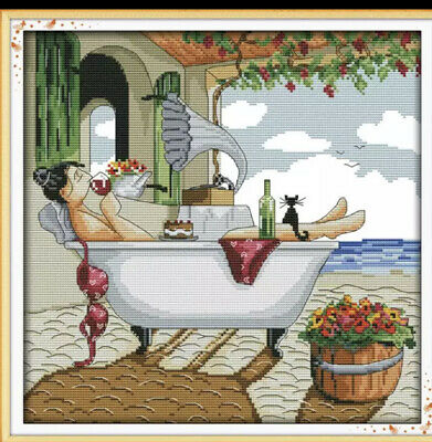 Lady In The Bath Drinking A Glass Of Wine Cross Stitch Kit 14ct • 11£