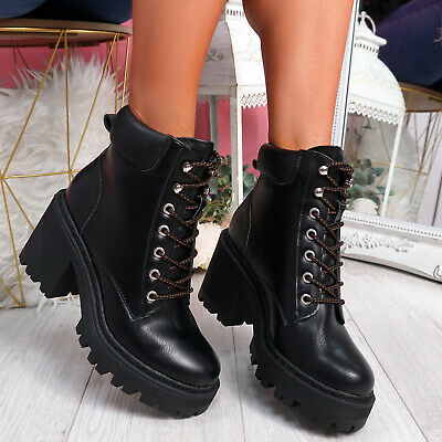 Womens Ladies Lace Up Biker Ankle Boots Platform Chunky Heels Winter Women Shoes • 22.99£