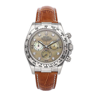 $ CDN35460.81 • Buy Rolex Daytona Auto White Gold MOP Diamonds Mens Strap Watch Chrono 116519