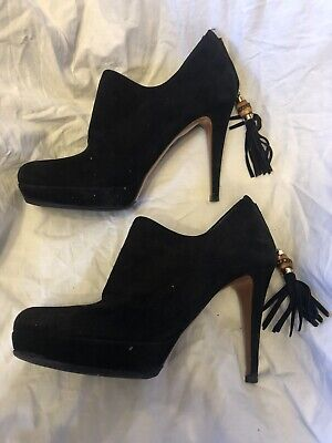 Gucci Black Suede Platform Shoe Boots With Bamboo Tassel Size 37.5 • 5.90£