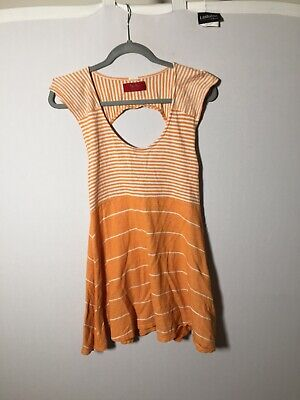 AU31 • Buy Tigerlily Womens Orange & White Striped Mini Dress Size 10 Stretchy Cotton