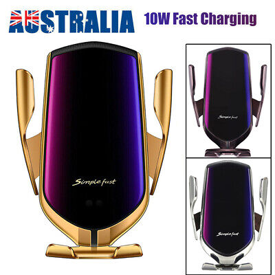 AU12.99 • Buy Qi Automatic Clamping Wireless Car Charger Fast Charging Mount Phone Holder