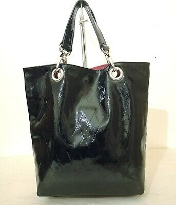 Hobbs Black Patent Leather Quilted Tote Grab Bag, Fantastic Condition  • 24.99£