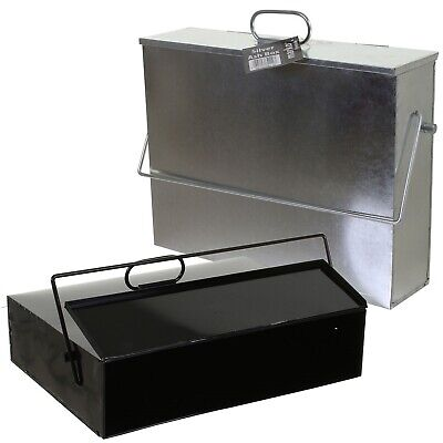 Hot Ash Box Carrier Lid Fireplace Bucket Tidy Bin Metal Container Transporter • 21.95£