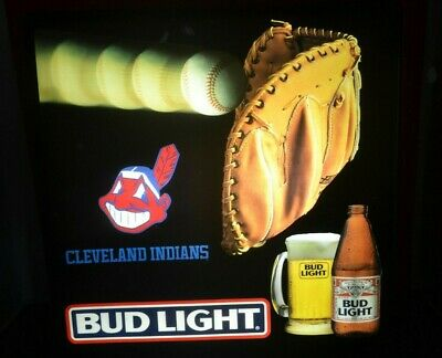$ CDN228.08 • Buy Budweiser Bud Light Cleveland Indians Beer Sign MLB Baseball Neon Look Light Up