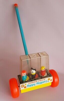 VINTAGE 1960s Fisher Price Happy Hoppers (1959) Dog Girl Boy Pushalong Toy • 12.99£
