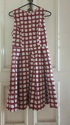 AU18 • Buy Beautiful Asos Dress A Line Red And White Patterned, UK Size 10