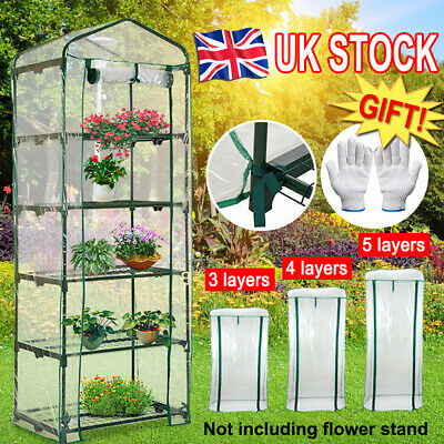 3/4/5 Tier Greenhouse Garden House Cover Tunnel Plant Green Shed Storage Protect • 8.99£