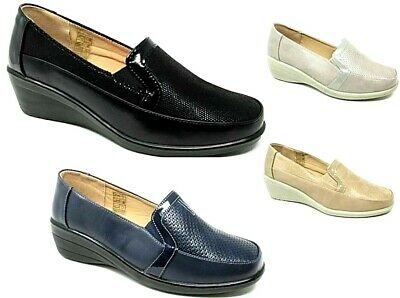 Womens Ladies Slip On Shoes Comfort Flat Low Wedge Pumps Loafer Moccasin Shoe • 8.99£