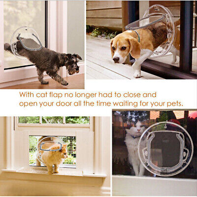 £27.59 • Buy For Cat Door Dog Flap Glass Fitting 4 Way Locking Clear Small Pet
