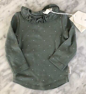 AU10 • Buy COUNTRY ROAD - BNWT Pin Dot Frill Top - 3-6 Months - Olive - RRP $25