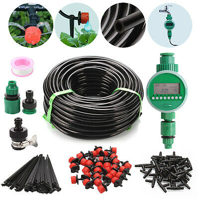50M Automatic Drip Irrigation System Kit Plant +Timer Self Watering Garden Hose • 47.04£