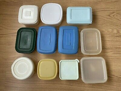 11 Plastic FOOD STORAGE CONTAINERS Tubs Snap Close Lid Tupperware Boxes Airtight • 9.65£