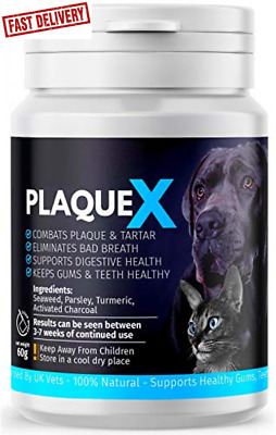 Plaque X 100% Natural Plaque Off Tartar Remover Dogs Cats Fresh Breath • 9.99£