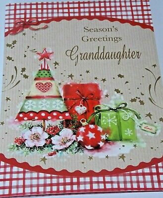Granddaughter Christmas Card. Red Bauble Theme. Northern Lights Cards.  • 1.55£