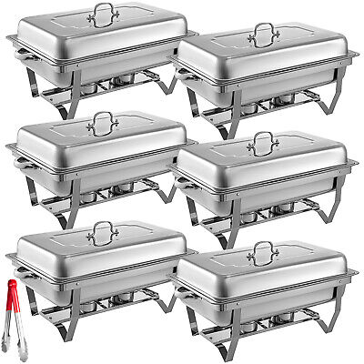 £161.99 • Buy Chafing Dish Set 6 Packs Of 9L Chafer Dish Buffet Catering Food Warmer Pans Tray