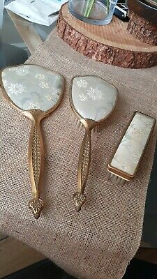 VINTAGE Dressing Table Vanity Set Cloth&Hair Brush Mirror Floral Embroidery • 7.99£