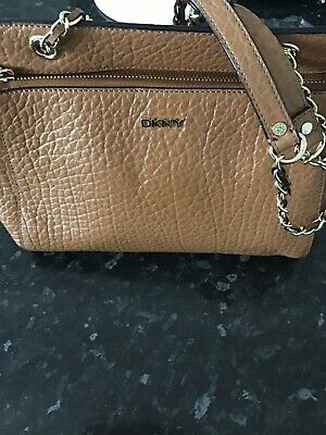 £79.99 • Buy Ladies Dkny Cross Body Tan Colour Leather Bag New W Tag And Key Ring Gold Zip