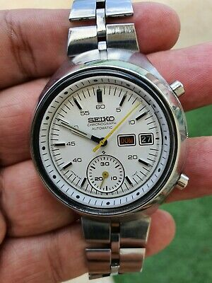 $ CDN395.54 • Buy Seiko Helmet 6139-7100 Vintage White Dial Chronograph Japan Made Mens Watch -jbc