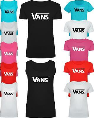 Women Ladies VANS Slogan Print T Shirt & Vest Trendy Summer Tank Top • 5.95£