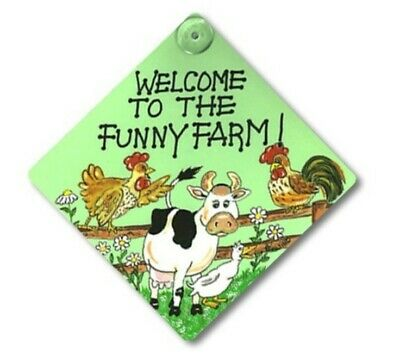 £3.99 • Buy Chicken Rooster Cow Duck Window Welcome To The Funny Farm Sign Humour Gift