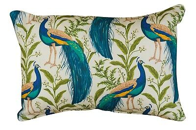 Vibrant Peacock Rectangle Boudoir Cushion In Cream & Teal. 17x12  Double Sided. • 11.99£