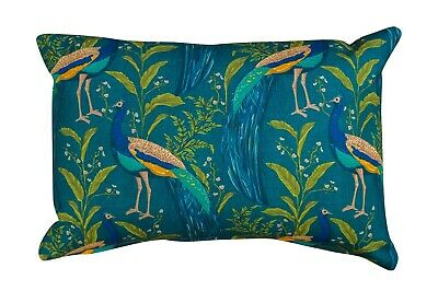Vibrant Peacock Rectangle Boudoir Cushion In Indigo & Teal. 17x12  Double Sided. • 11.99£