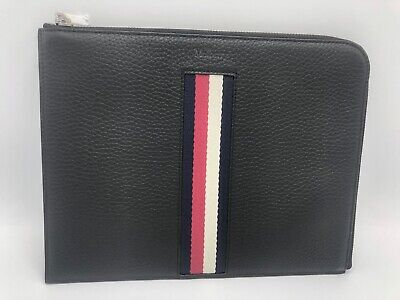 MULBERRY Tech Pouch Stripes A100 Black Leather IPad Tablet SLEEVE Bag Case • 279.99£