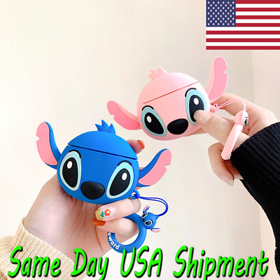 $ CDN12.08 • Buy Silicone Case Airpods Gen 1 & 2 Stitch -  Blue Pink Case FREE SHIPPING