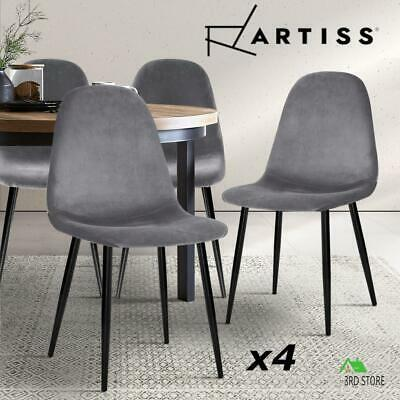 AU128.70 • Buy Artiss 4x Dining Chairs Velvet Seat Cafe Kitchen Chair Modern Iron Leg  Grey