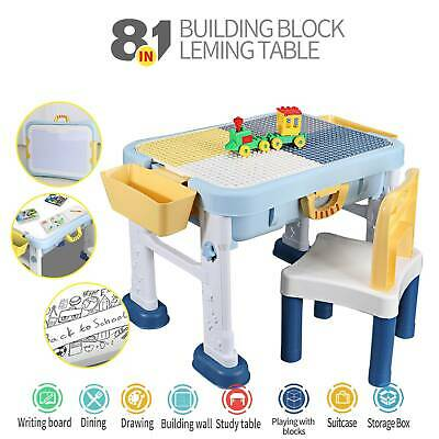 £49.99 • Buy TOP 8 In 1 Kids Building Block Activity Play Table Chair Set Fit For LEGOO/Duplo