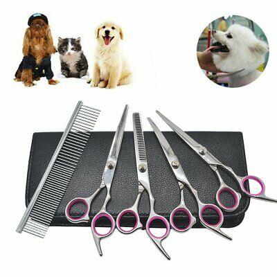 6pcs Pet Hair Scissors Tool Dog Grooming Cutting Thinning Curved Shears Comb Kit • 12.99£