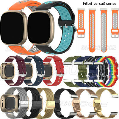 For Fitbit Versa 3 Sense Silicone Leather Stainless Steel Nylon Watchband Strap  • 7.28£