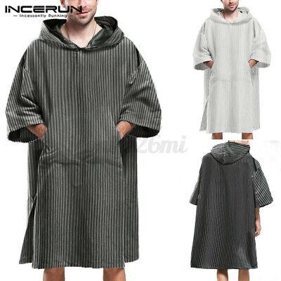 INCERUN Men Surf Bath Poncho Changing Robe Bathing Striped Beach Tops With Hoody • 11.49£